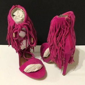 NIB! Shoe Republic LA fringe stiletto sandals